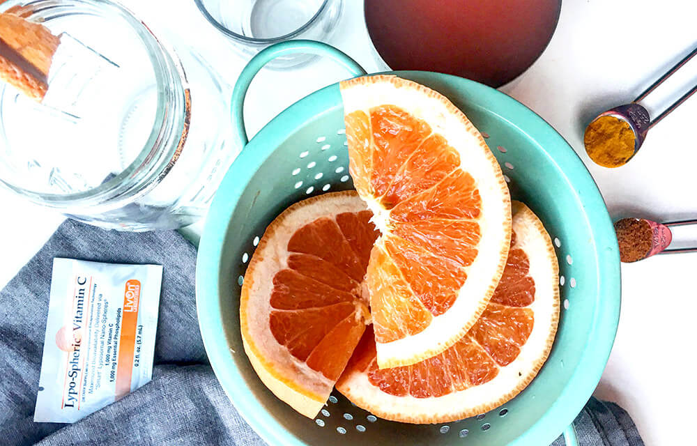 overhead view of summer skin vitamin c shot recipe ingredients