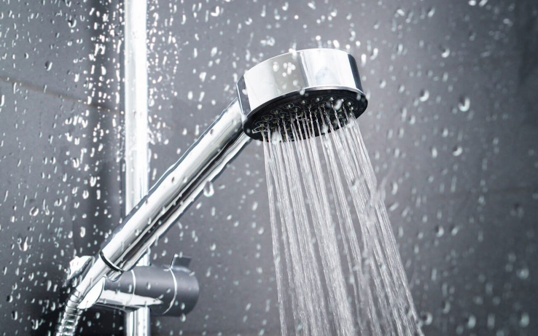 shower head with water streaming out