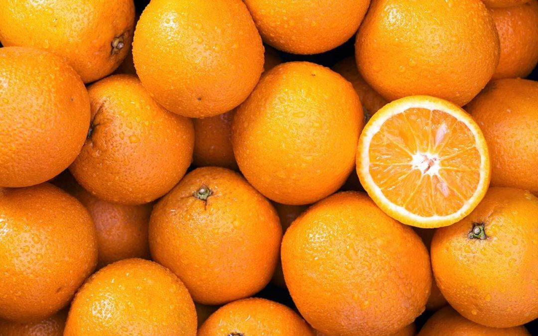 close-up view of a lot of oranges