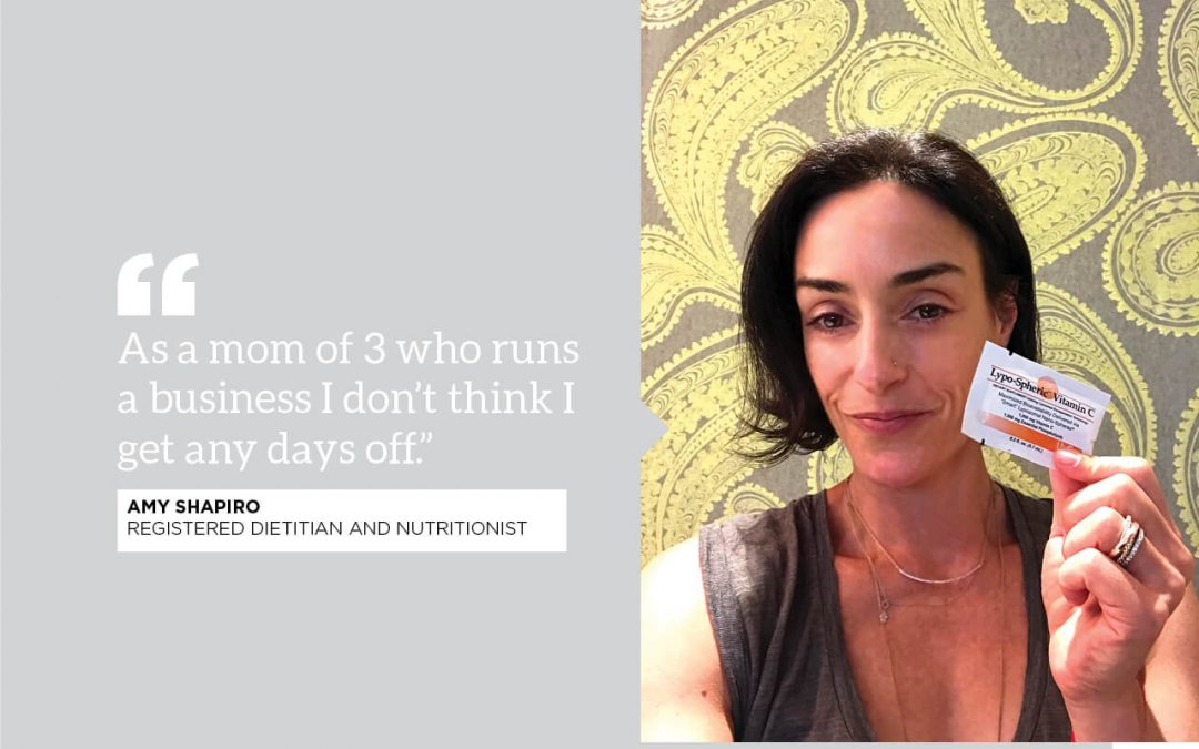 """photo of RD Amy Shapiro with quote: """"as a mom of 3 who runs a business I don't think I get any days off"""""""