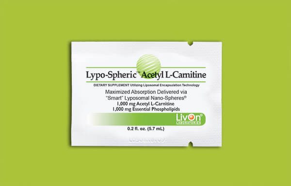 Lypo-Spheric Acetyl L-Carnitine packet on lime green background