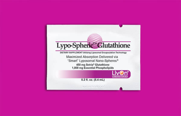 Lypo-Spheric Glutathione packet on magenta background