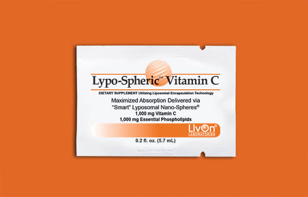 Lypo-Spheric Vitamin C packet on orange background