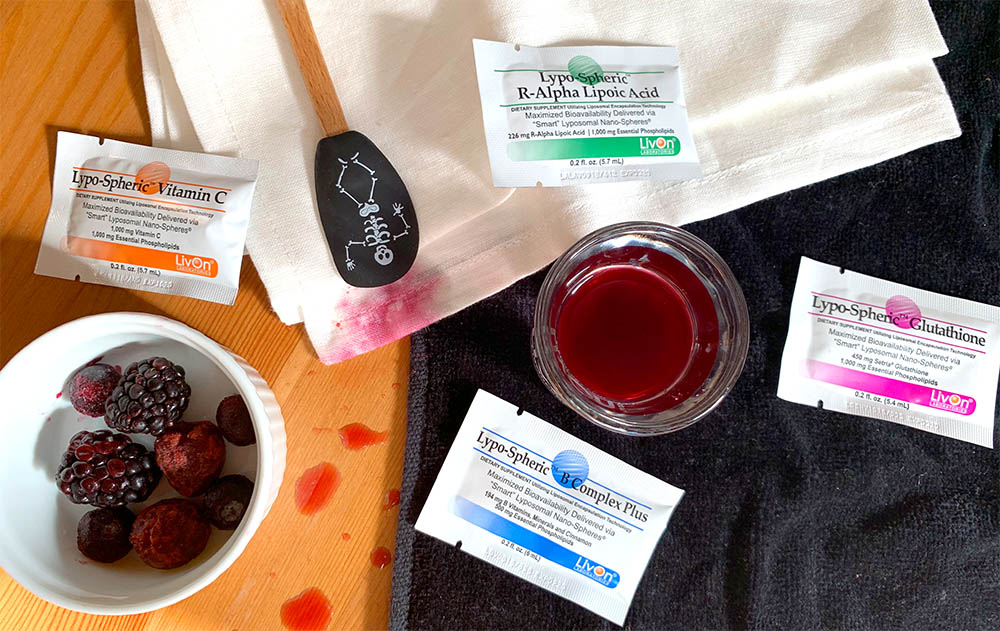 Fresh Flesh shot ingredients with a spatula