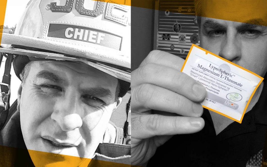 chief miller in fire helmet on left, chief miller holding lypo-spheric magnesium l-threonate packet on right