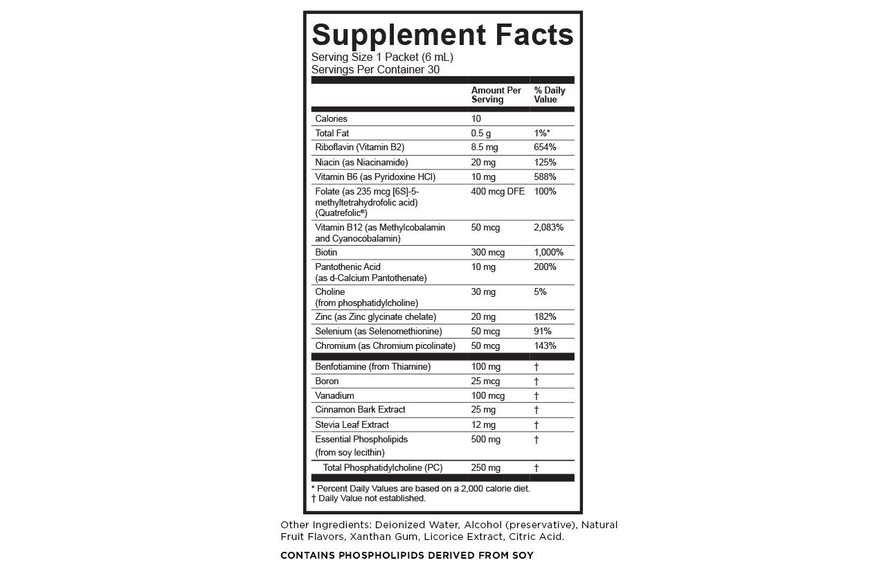B complex plus supplement facts Calories: 10 Total fat: 0.5 g/ 1% DV Riboflavin (vitamin B2): 8.5 mg/ 654% DV Niacin (as niacinamide): 20 mg/ 125% DV Vitamin B6 (as Pyridoxine HCl): 10 mg/ 588% DV Folate (as 235 mcg [6S]-5-methyltetrahydrofolic acid) (Quatrefolic): 400 mcg DFE/. 100% DV Vitamin B12 (as methylcobalamin and cyanocobalamin) 500 mcg/ 2083% DV Biotin: 300 mcg/ 1000% DV Pantothenic acid (as d-calcium pantothenate): 10 mg/ 200% DV Choline (from phosphatidylcholine): 60 mg/ 11% DV Zinc (as zinc glycinate chelate): 20 mg/ 182% DV Selenium (as selenomethionine): 50 mcg/ 91% DV Chromium (as chromium picolinate): 50 mcg/ 143% Benfotiamine (from thiamine): 100 mg Boron: 25 mcg Vanadium: 100 mcg Cinnamon bark extract: 25 mg Stevia leaf extract: 12 mg Essential phospholipids (from soy lecithin): 500 mg Total phosphatidylcholine (PC): 250 mg Other ingredients: deionized water, alcohol (preservative), natural fruit flavors, xanthin gum, licorice extract, citric acid. CONTAINS PHOSPHOLIPIDS DERIVED FROM SOY.