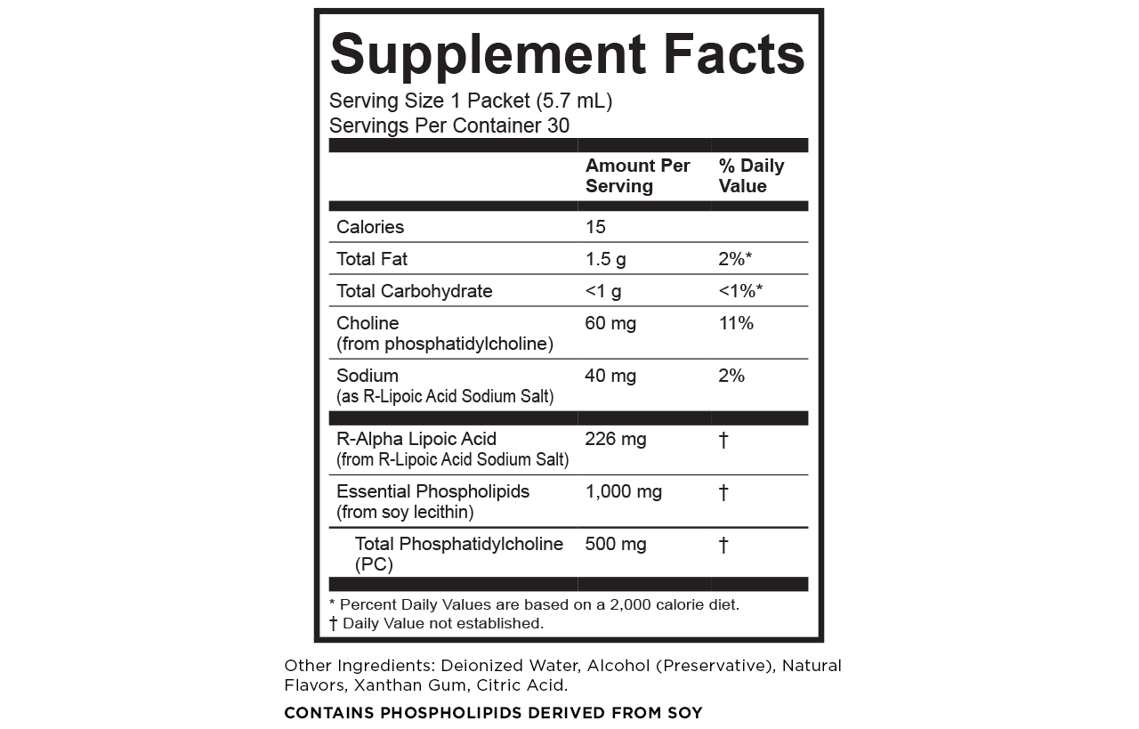 Alpha lipoic acid supplement facts Calories: 15 Total fat: 1.5 g/ 2% DV Total carbohydrate: