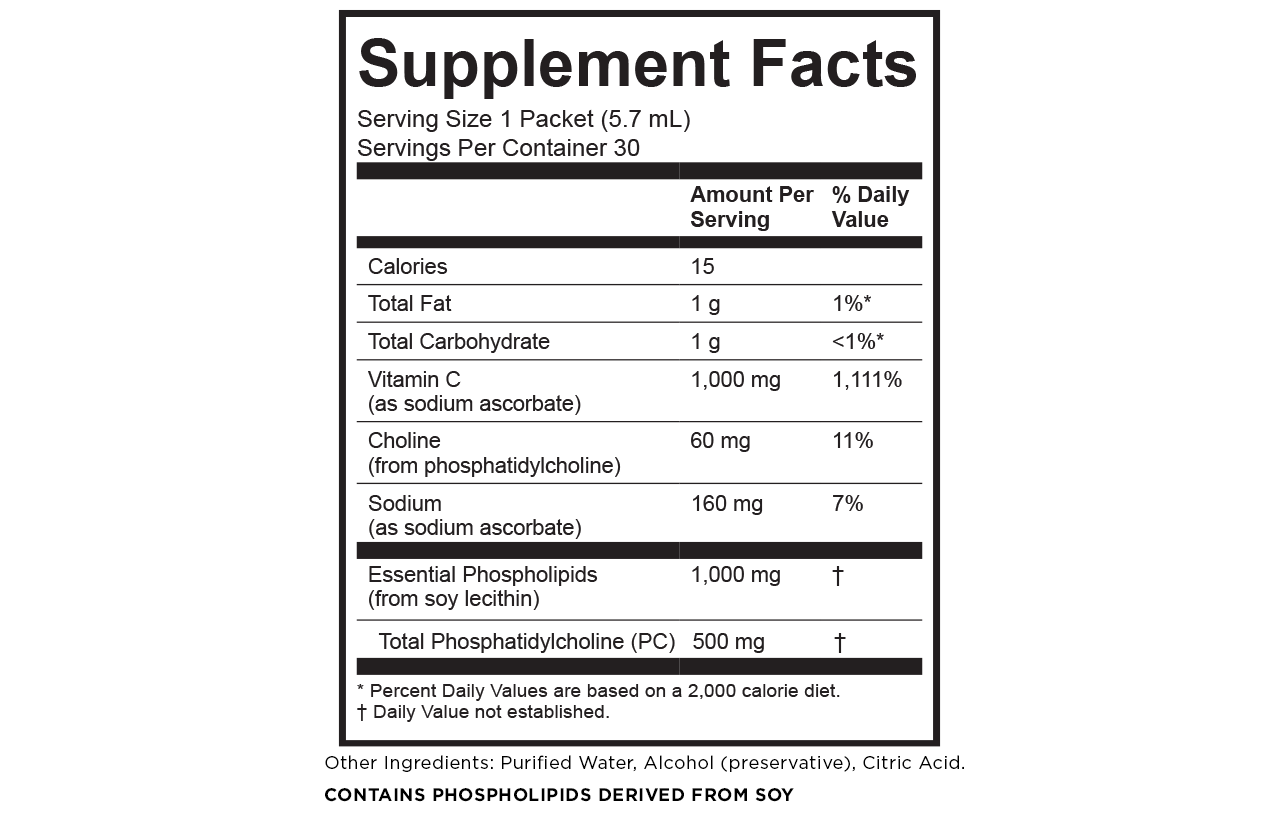 Vitamin C supplement facts Calories: 15 Total fat: 1 g/ 1% DV Total carbohydrate: 1 g/