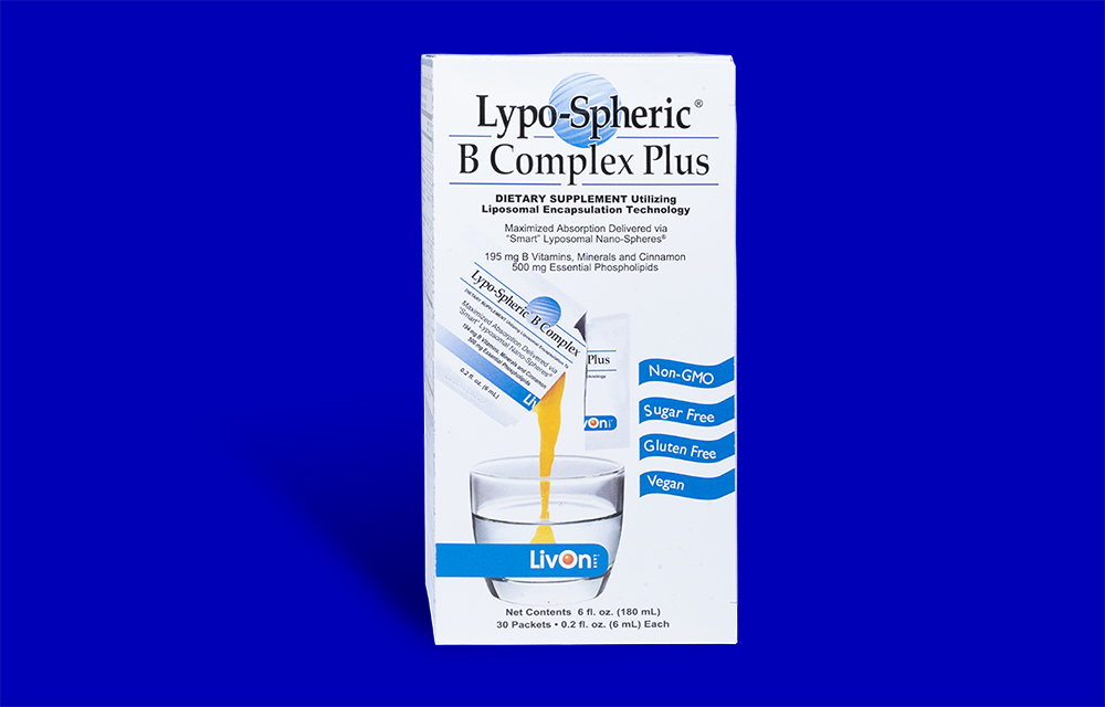 lypo spheric b complex plus carton with blue background