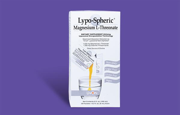 lypo spheric magnesium l threonate on purple background