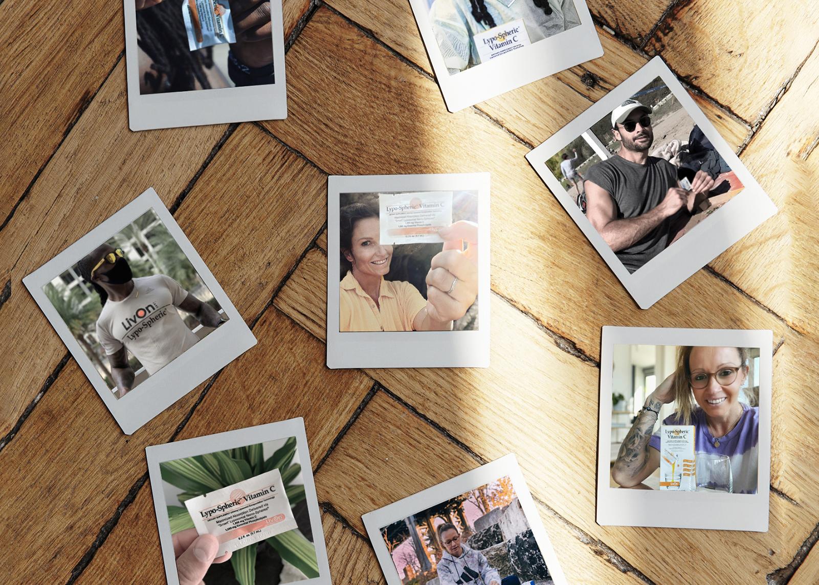 polaroids of livon labs ambassadors on a wood floor