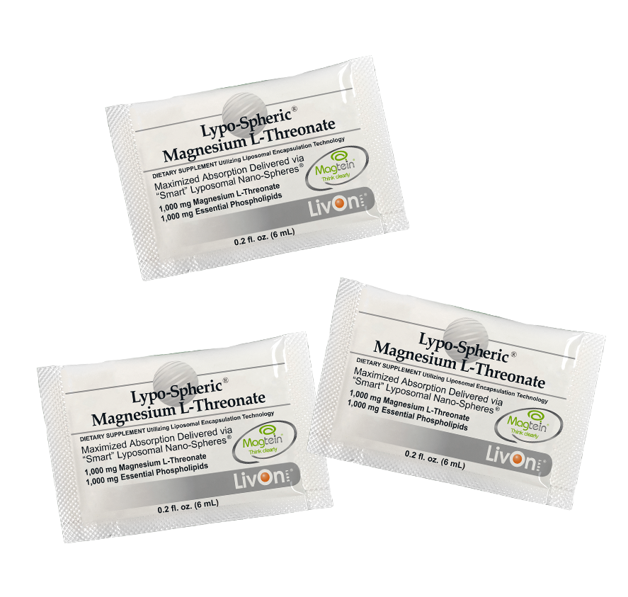 3 packets of lypo spheric magnesium l-threonate